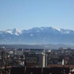 Turnul Sfatului Sibiu-panoramă munții făgăraș