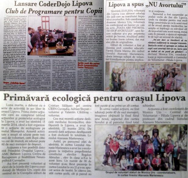 Acțiunile voluntarilor din Lipova în 3 articole de ziar